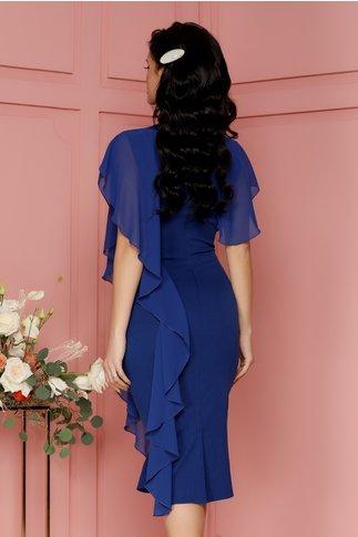 Rochie Marta albastru cu volane si aplicatie cu pietricele si margele la decolteu