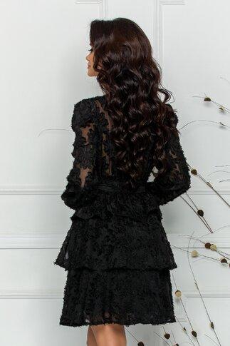 Rochie Martha neagra accesorizata cu franjuri si cordon in talie