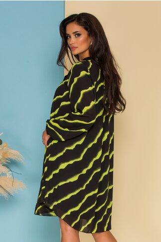 Rochie Mary din voal neagra cu imprimeu zebra verde neon