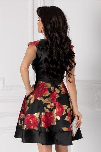 Rochie Mary neagra cu imprimeu floral bordo