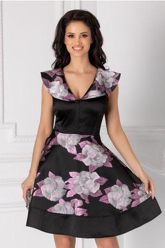 Rochie Mary neagra cu imprimeu floral lila