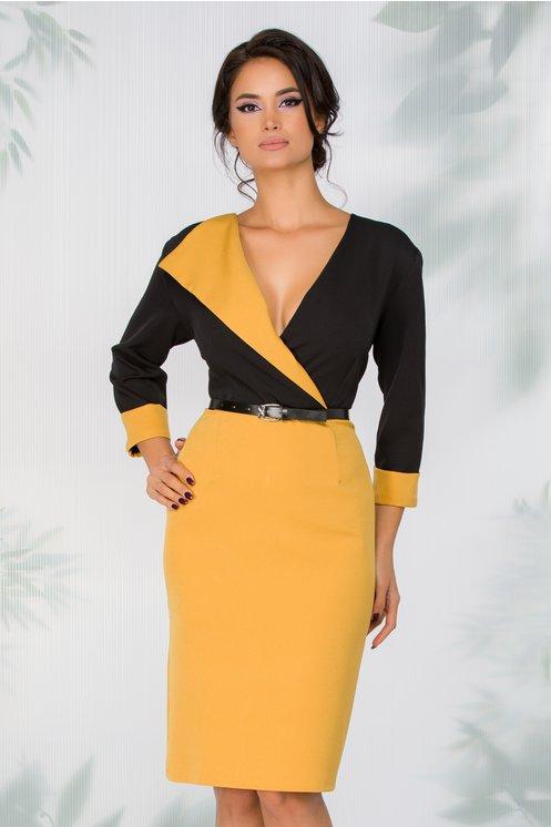 Rochie Mary negru cu galben si curea in talie