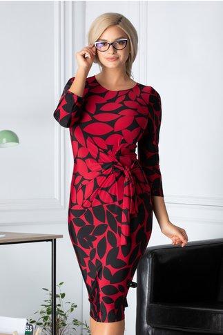 Rochie Mary rosu si negru cu imprimeuri