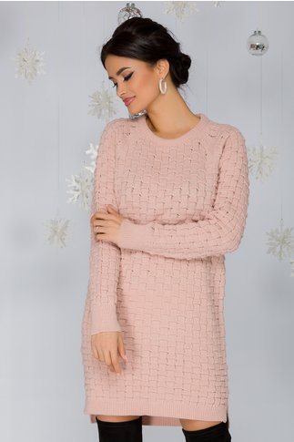 Rochie Mary roz tricotata