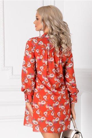 Rochie Marya orange cu imprimeu floral