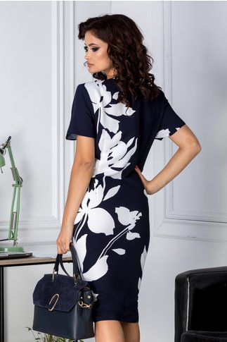 Rochie Marylin bleumarin cu imprimeu floral alb
