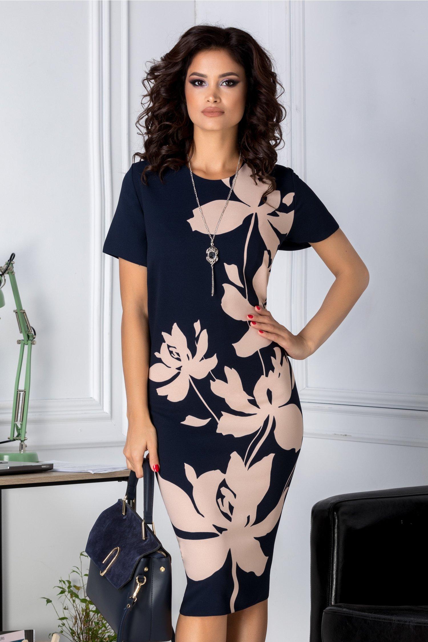 Rochie Marylin bleumarin cu imprimeu floral crem