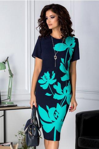 Rochie Marylin bleumarin cu imprimeu floral turcoaz