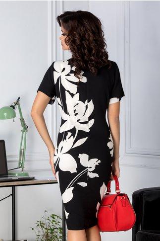 Rochie Marylin negru cu imprimeu floral ivory