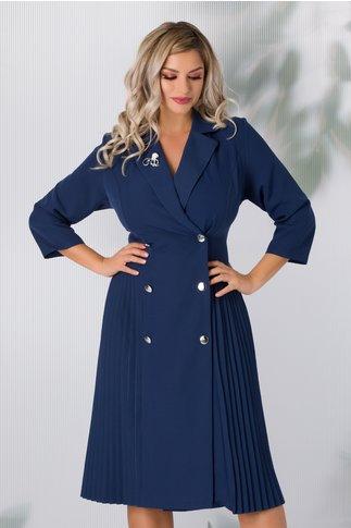 Rochie Masha albastru petrol stil sacou