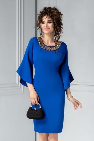 Rochie Maura albastra cu aplicatii elegante