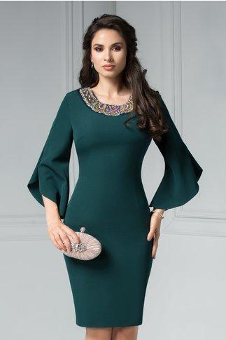 Rochie Maura verde inchis cu aplicatii elegante