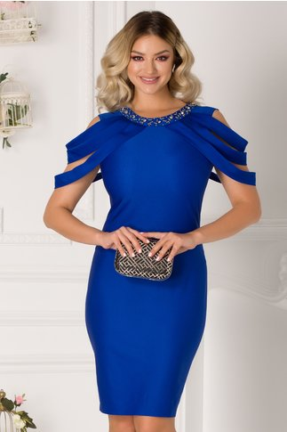 Rochie Maya albastra cu aplicatii la bust