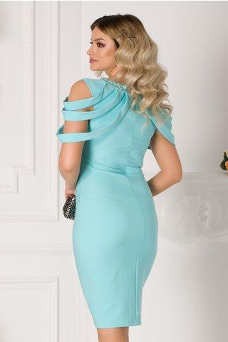 Rochie Maya bleu cu aplicatii la bust