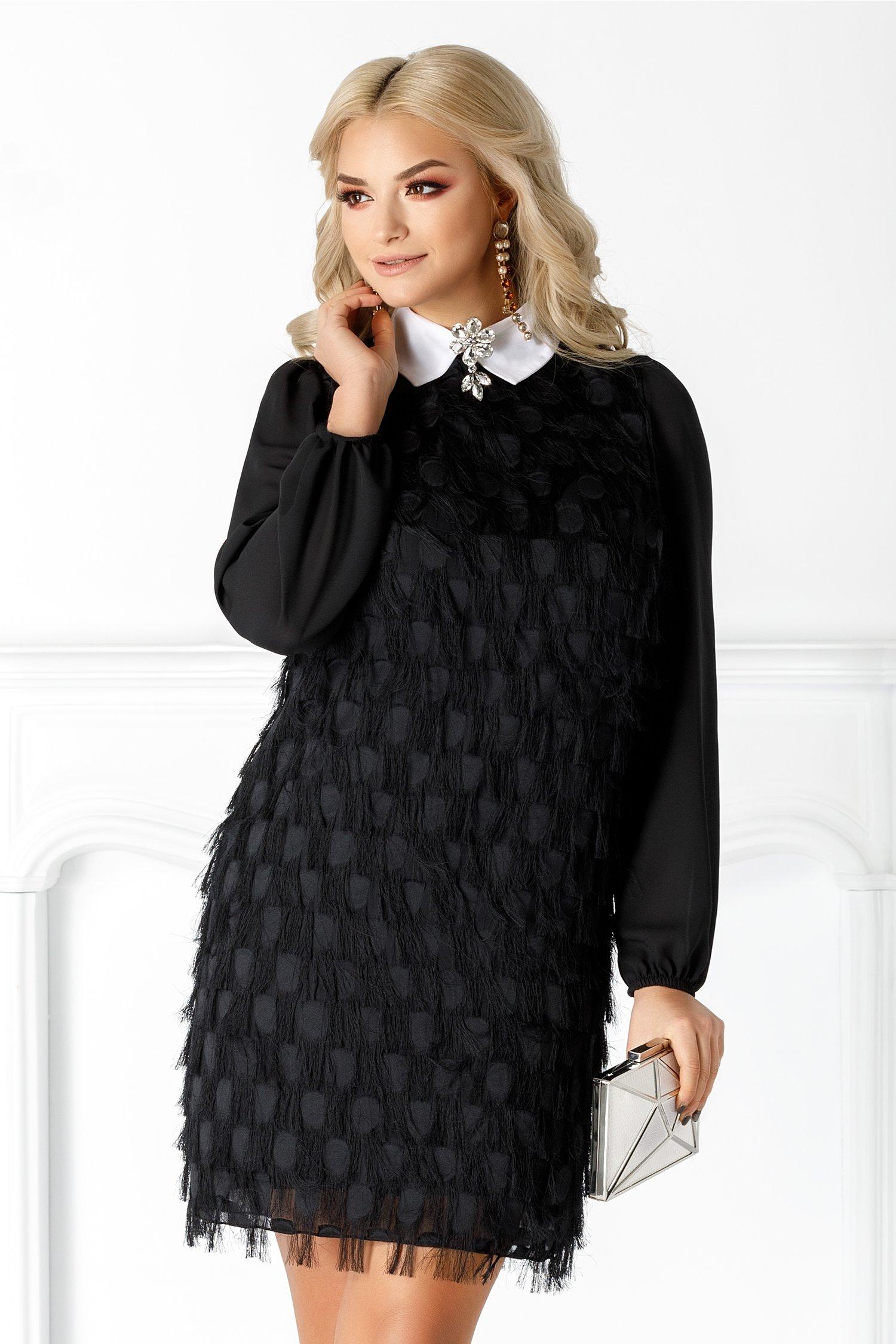 Rochie Maya neagra cu guler tip camasa