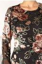 Rochie Maya neagra din voal cu insertii catifelate