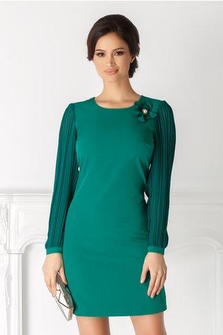 Rochie Maya verde eleganta cu maneci plisate