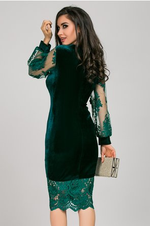 Rochie Mayra din catifea verde cu maneci bufante