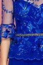 Rochie MBG albastra cu broderie si peplum