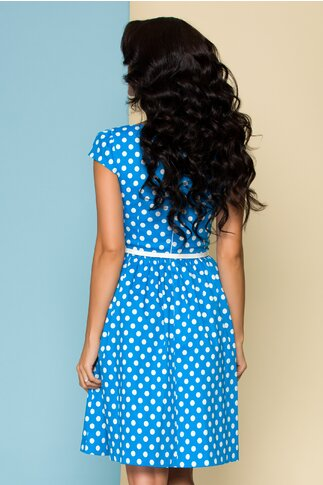 Rochie MBG albastra cu buline albe