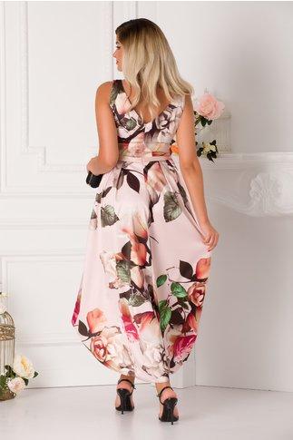 Rochie MBG Bea roz prafuit cu imprimeu cu trandafiri si croi asimetric