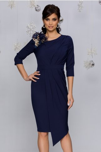 Rochie MBG bleumarin cu aspect petrecut si broderie 3D cu pene