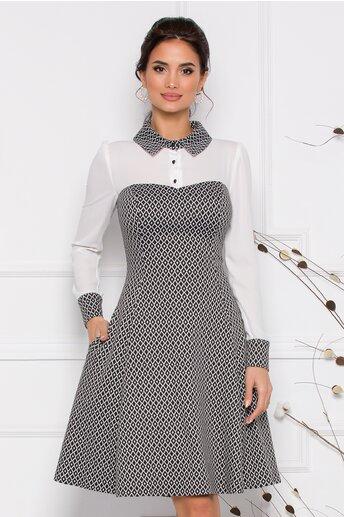 Rochie MBG cu imprimeu alb-negru si bust tip camasa