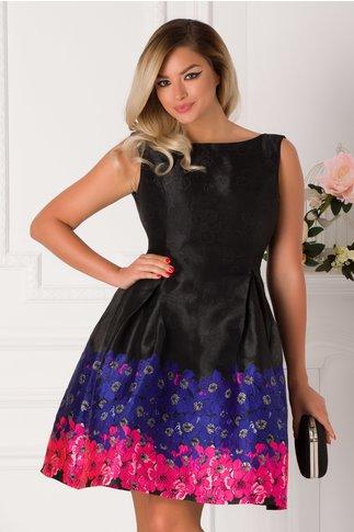 Rochie MBG Geea neagra cu broderie florala colorata la baza