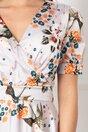 Rochie MBG ivoire in clos cu imprimeu floral