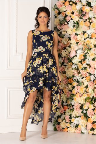 Rochie MBG Marissa asimetrica bleumarin cu imprimeu floral pastelat