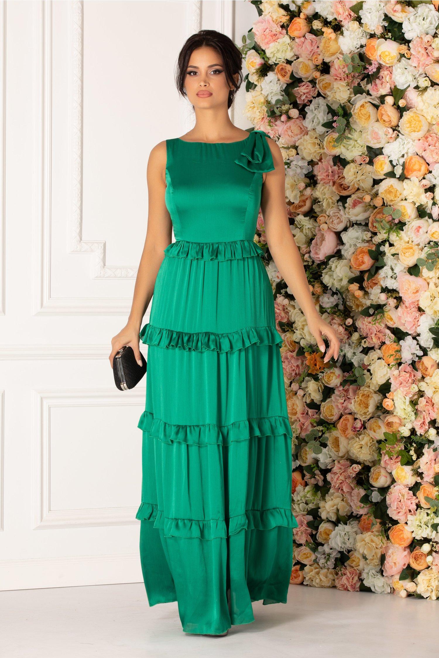 Rochie Mona verde cu volanase si funda pe umar