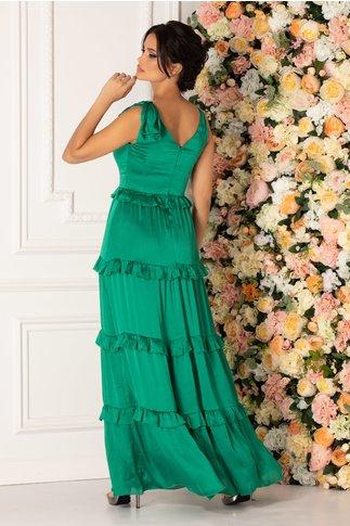 Rochie MBG Mona verde cu volanase si funda pe umar