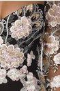 Rochie MBG neagra cu broderie roz si paiete aurii