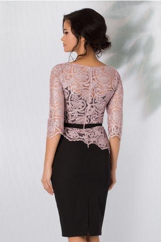 Rochie MBG neagra cu broderile florala si glitter roz prafuit