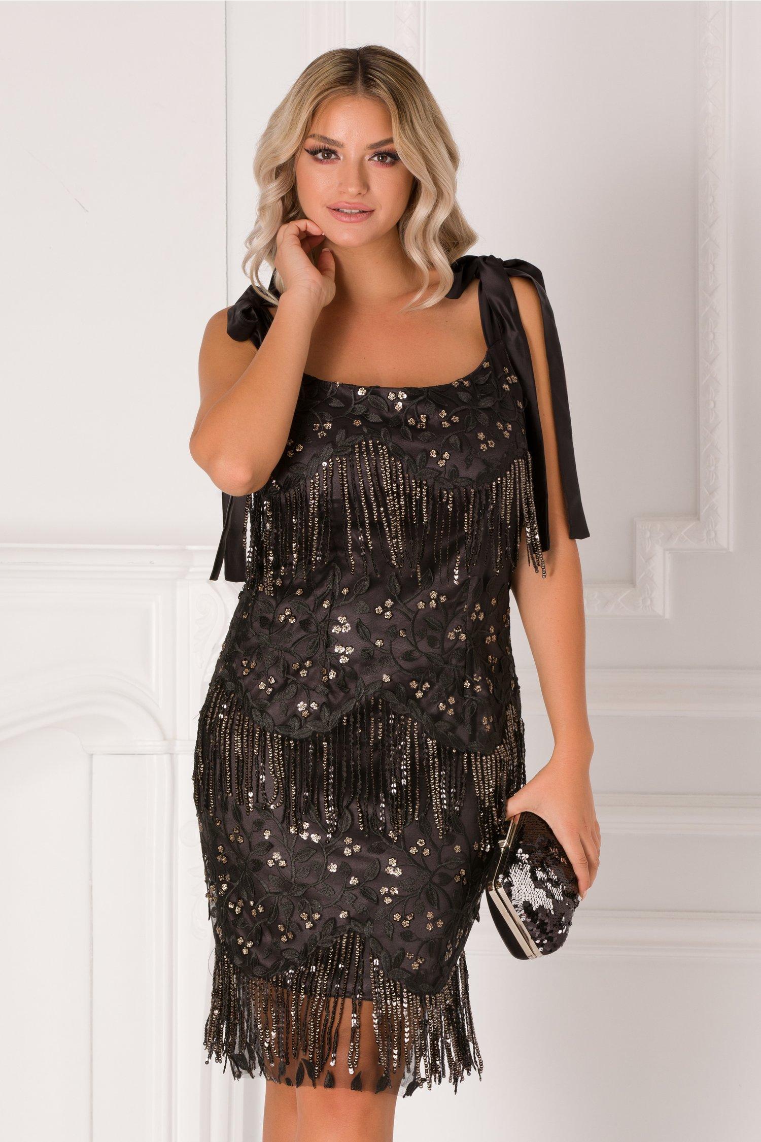 rochie mbg neagra cu dantela si paiete aurii 364579 4