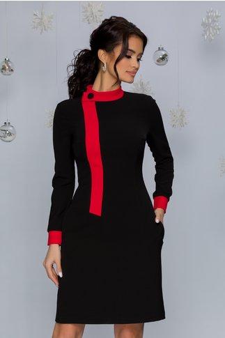 Rochie MBG neagra cu guler si mansete rosii