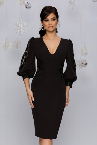 Rochie MBG neagra cu maneci bufante si broderie florala cu paiete