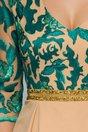 Rochie MBG nude beige cu broderie florala verde