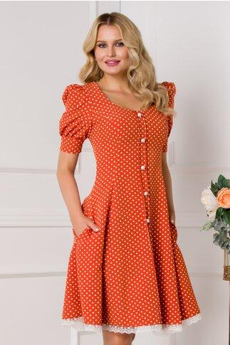 Rochie MBG orange cu buline si nasturi perlati