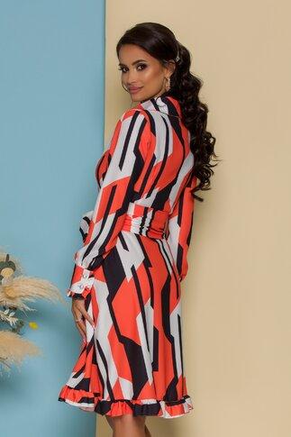 Rochie MBG orange cu negru si design petrecut