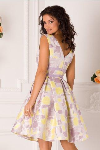 Rochie MBG Patricia lila cu imprimeuri galbene