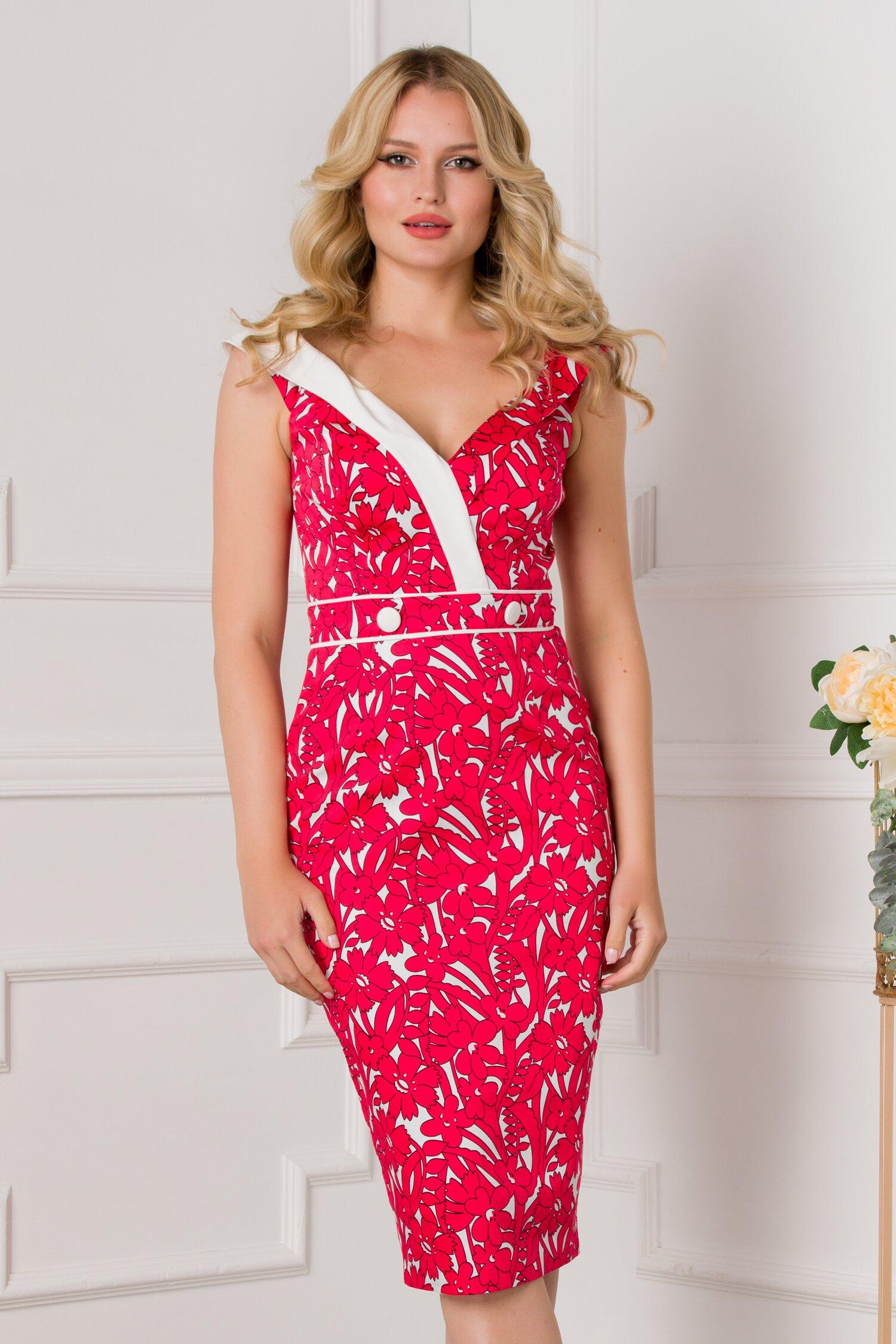 Rochie MBG rosie cu imprimeuri florale