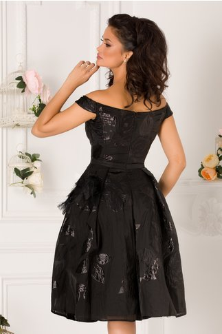 Rochie MBG Tamara din organza neagra cu detalii florale