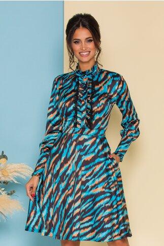 Rochie MBG turcoaz cu print zebra