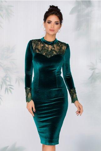 Rochie MBG verde din catifea cu broderie si fir lurex