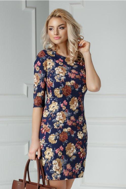 Rochie Meda bleumarin cu imprimeuri florale