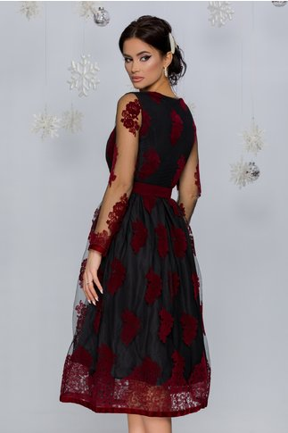 Rochie Meghan neagra din tull cu insertii florale catifelate bordo
