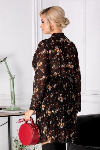 Rochie Meghan plisata neagra cu floricele