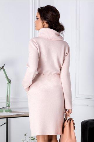 Rochie Mela roz din jerseu cu guler din blanita