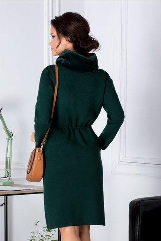 Rochie Mela verde din jerseu cu guler din blanita
